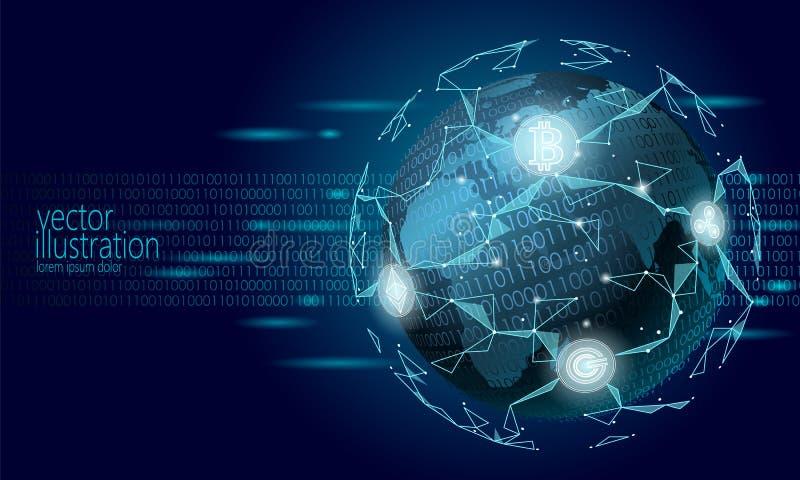 Globale internationale blockchaincryptocurrency Ontwerp van het de financiënbankwezen van de planeet het ruimte lage poly moderne royalty-vrije illustratie