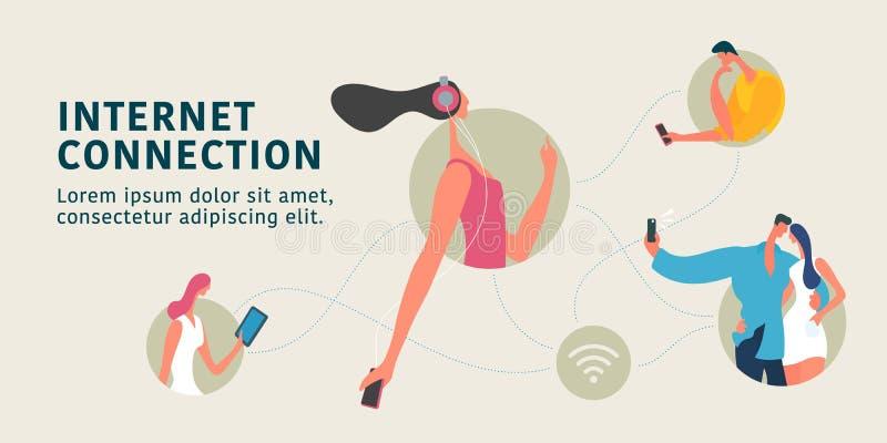 Globale Internet-verbinding en de moderne vlakke illustratie van het mensen vectorconcept, banner royalty-vrije illustratie