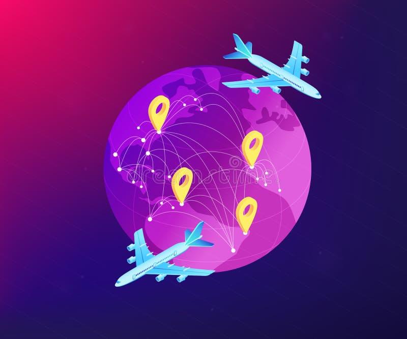 Globale isometrische 3D het conceptenillustratie van het vervoerssysteem vector illustratie
