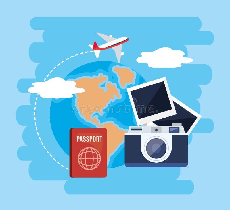 Globale Karte mit Pass und Kamera mit Fotos stock abbildung