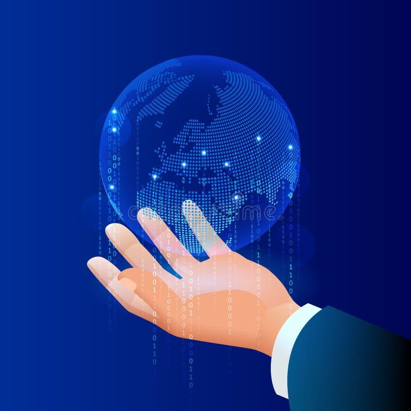 Globale Kommunikation Internet um den Planeten Netz- und Datenaustausch über Planeten Verbundene Satelliten für stock abbildung