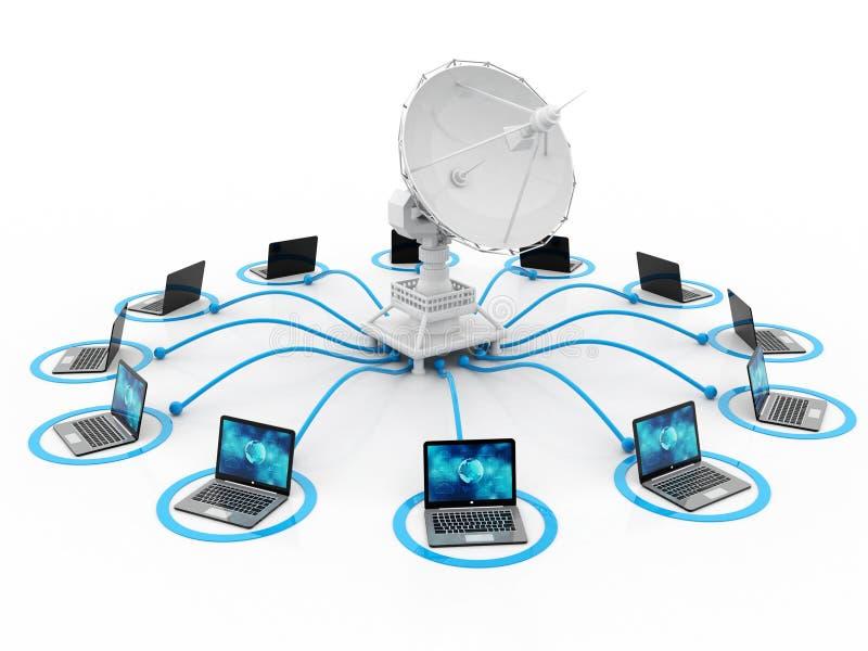 Globale Kommunikation mit Satelliten und Computer 3d übertragen stock abbildung