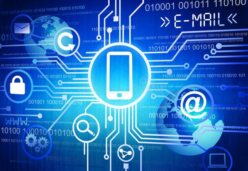 Globale Kommunikations-Konzept mit Smartphone stock abbildung