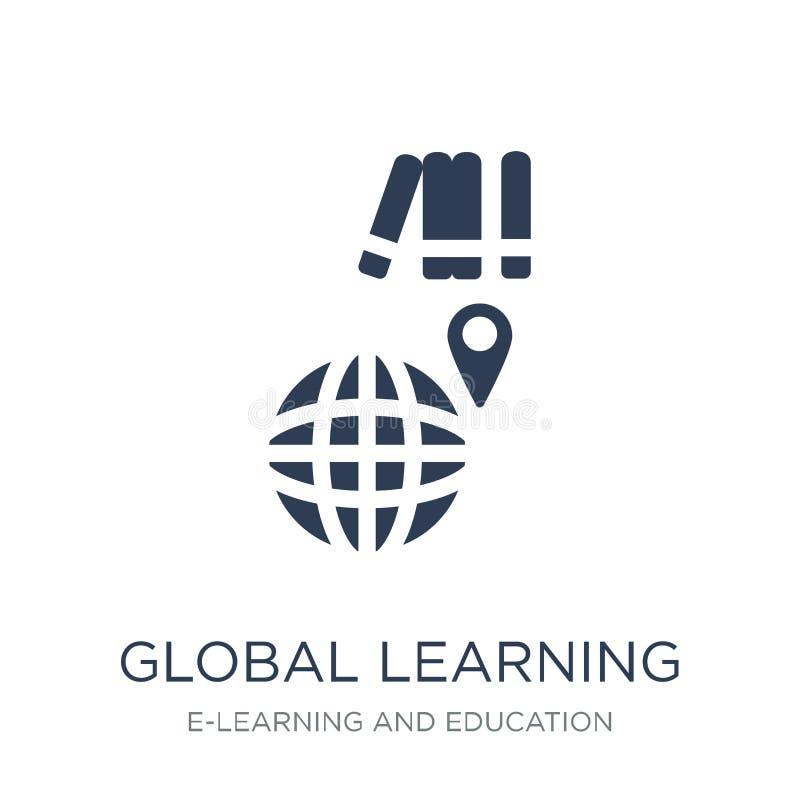 Globale Lernenikone Globale Lernenikone des modischen flachen Vektors an vektor abbildung