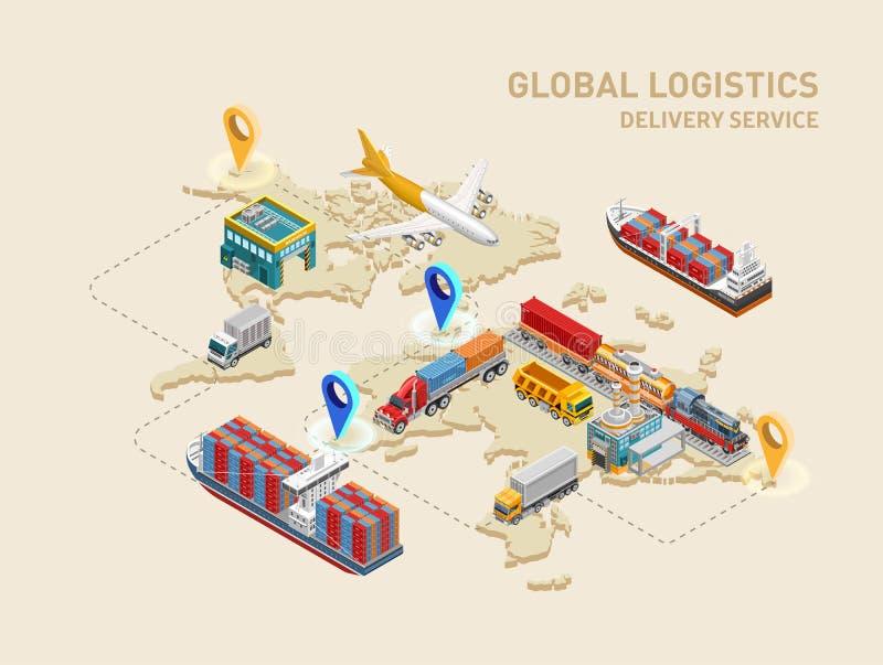 Globale logistiekregeling met bestemmingspunten royalty-vrije illustratie