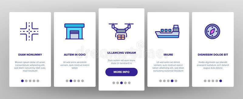 Globale logistische Abteilungs-linearer Vektor Onboarding lizenzfreie abbildung