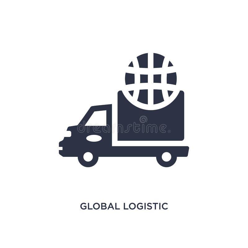 globale logistische Ikone auf weißem Hintergrund Einfache Elementillustration vom Lieferungs- und Logistikkonzept stock abbildung