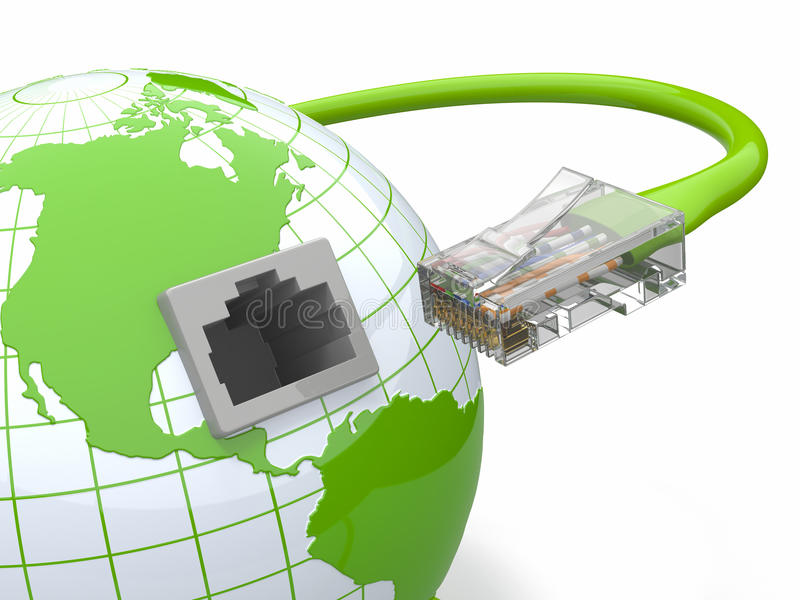 Globale mededeling. Aarde en kabel, rj45. vector illustratie