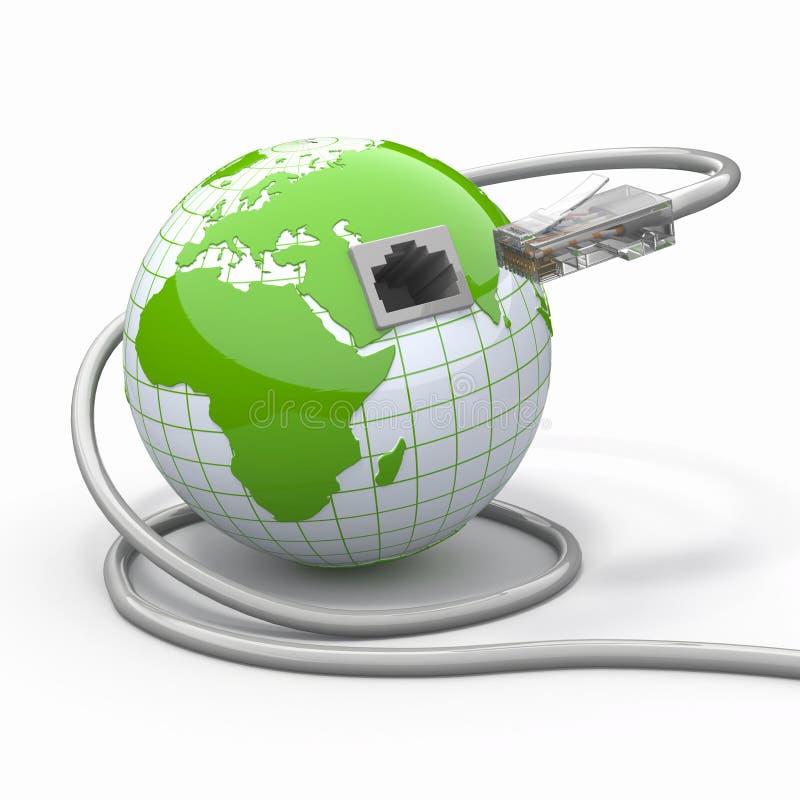 Globale mededeling. Aarde en kabel, rj45. stock illustratie