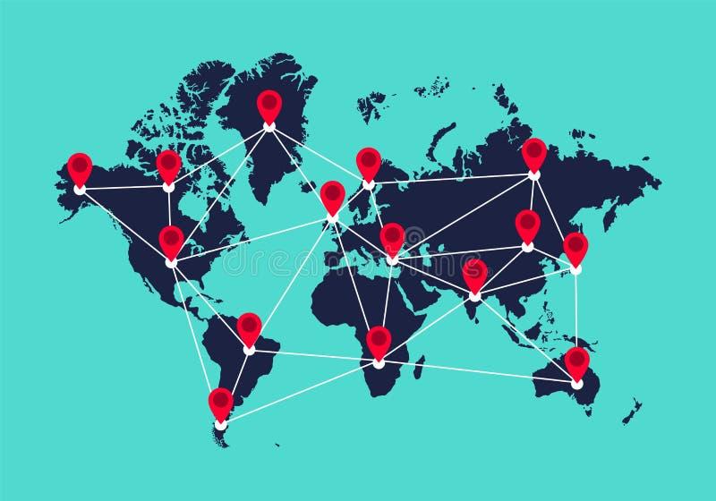 Globale mededeling, het concept van het verbindingsnetwerk royalty-vrije illustratie