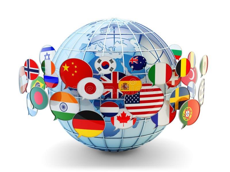Globale mededeling, internationaal overseinen en vertaalconcept royalty-vrije illustratie
