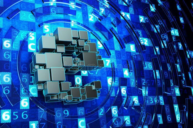 Globale mededeling, online elektronisch symbool, Internet en computertechnologieconcept stock illustratie