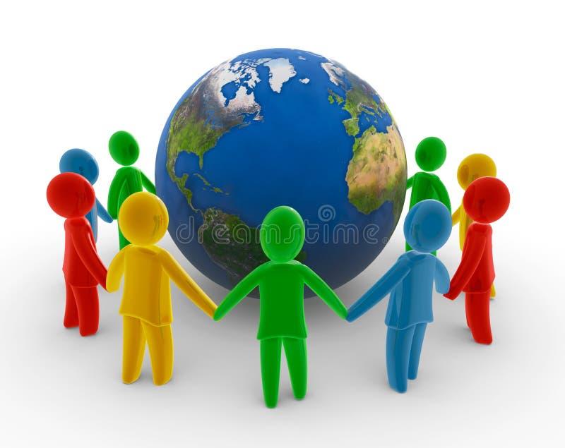 Globale menselijke ketting stock illustratie