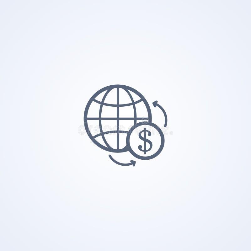 Globale muntuitwisseling, vector beste grijs lijnpictogram vector illustratie