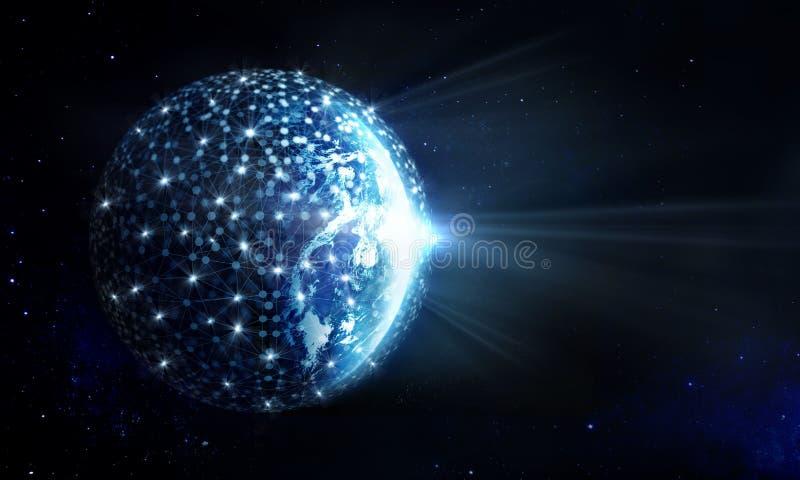 Globale Netwerk en gegevensuitwisseling op aarde stock fotografie