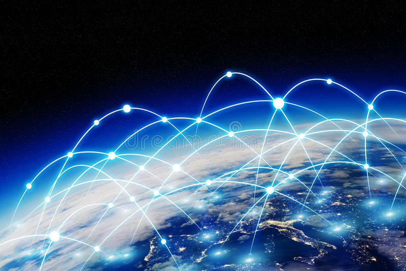 Globale netwerk en gegevensuitwisseling over de wereld stock illustratie