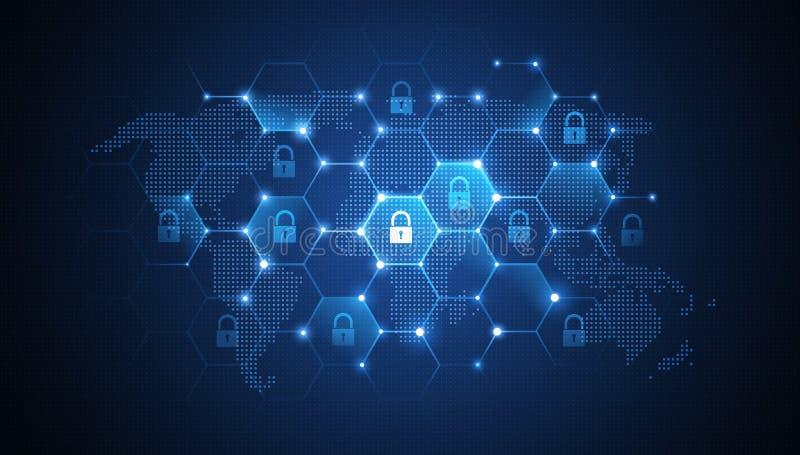Globale netwerkbeveiliging stock illustratie