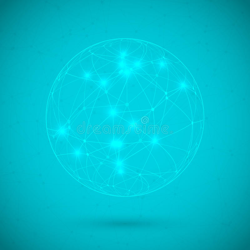 Globale Netwerklijnen met Dots Connection Vector Background vector illustratie