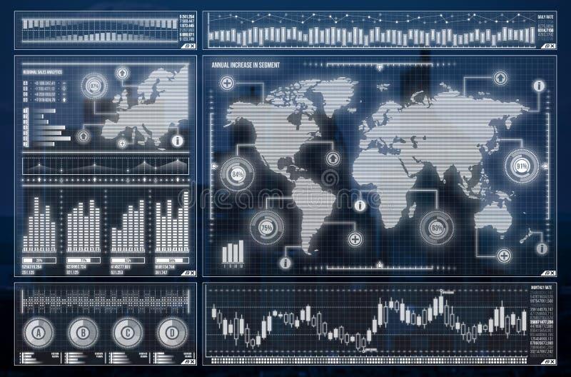 Globale netwerkverbinding Het concept van de wereldkaart globale zaken royalty-vrije stock afbeelding