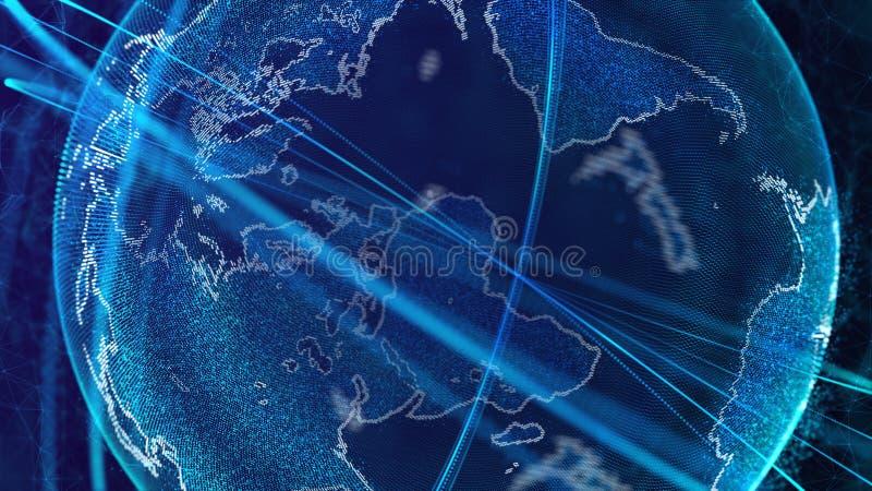 Globale netwerkverbinding Het Punt van de wereldkaart Het vertegenwoordigen van globaal De aansluting van het netwerk het 3d teru royalty-vrije illustratie