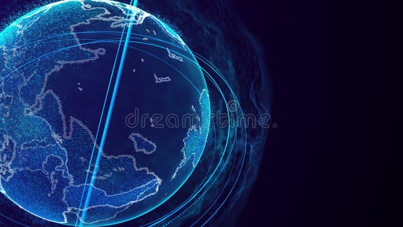 Globale netwerkverbinding Het Punt van de wereldkaart Het vertegenwoordigen van globaal De aansluting van het netwerk het 3d teru vector illustratie