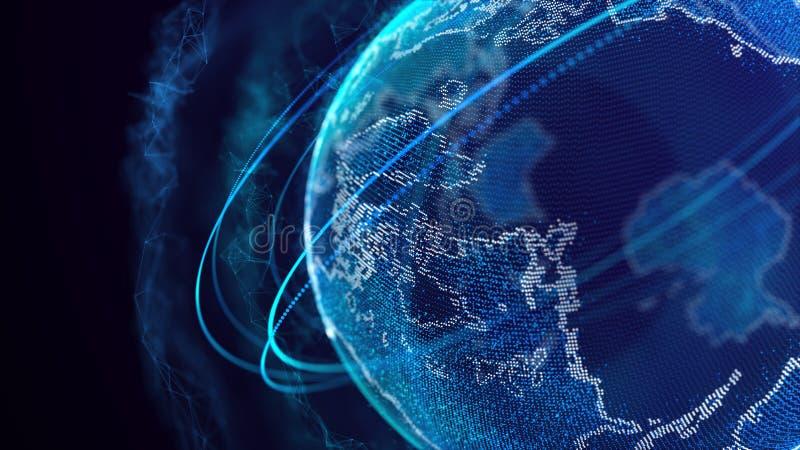 Globale netwerkverbinding Het Punt van de wereldkaart Het vertegenwoordigen van globaal De aansluting van het netwerk het 3d teru stock illustratie
