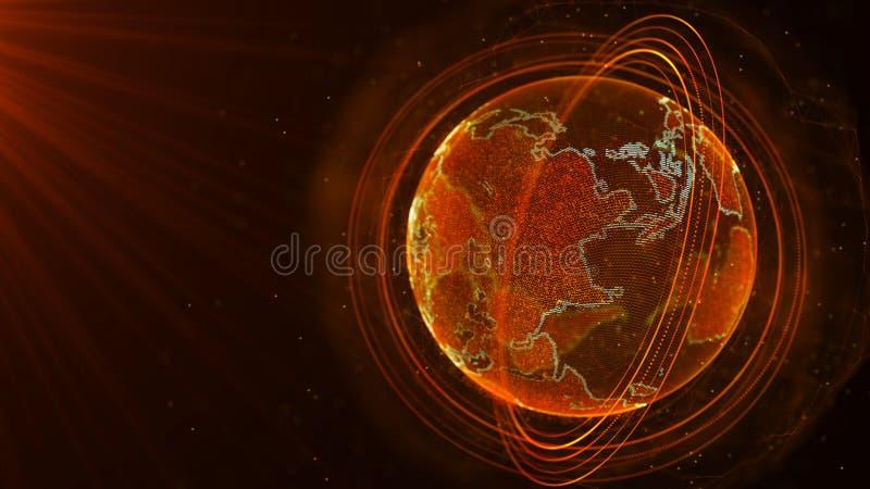 Globale netwerkverbinding Het Punt van de wereldkaart Het vertegenwoordigen van globaal De aansluting van het netwerk het 3d teru stock afbeelding