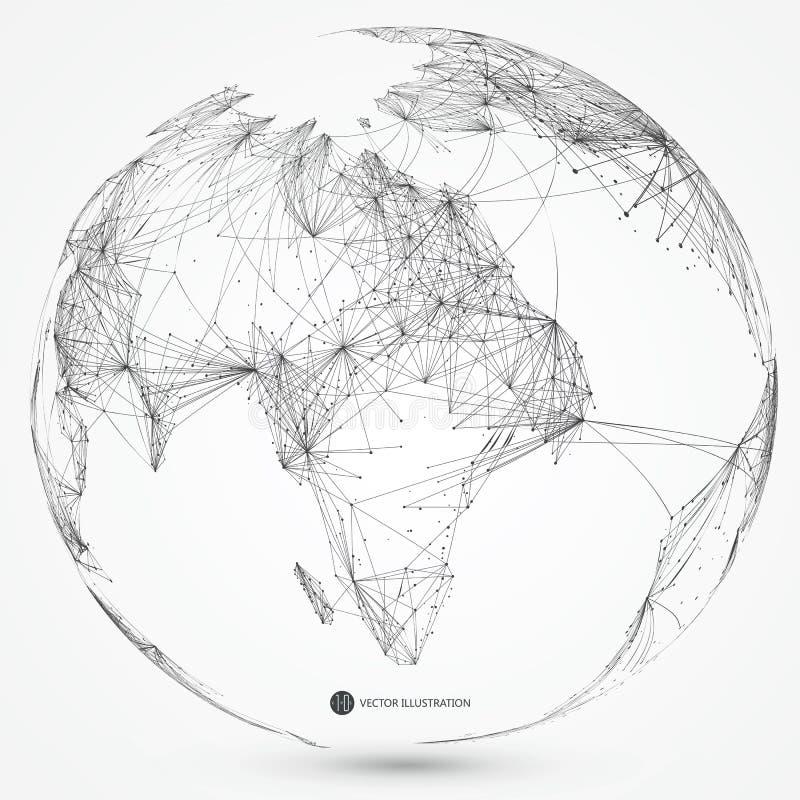 Globale netwerkverbinding, internationale betekenis stock foto