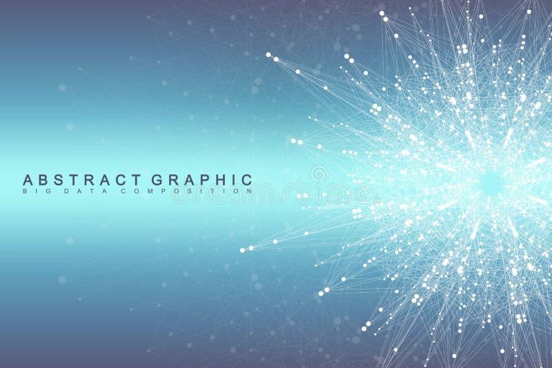 Globale netwerkverbinding Netwerk en de grote achtergrond van de gegevensvisualisatie Futuristische globale zaken Vector royalty-vrije illustratie
