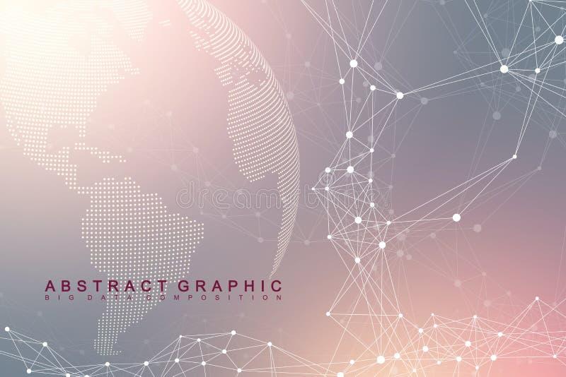 Globale netwerkverbinding Netwerk en grote gegevensuitwisseling over aarde in ruimte Globale Zaken Vector vector illustratie