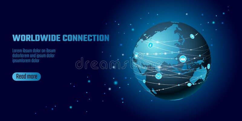 Globale netwerkverbinding Van het het continentpunt van Azië van de wereldkaart de lijninformatietechnologie dat uitwisselingszak royalty-vrije illustratie