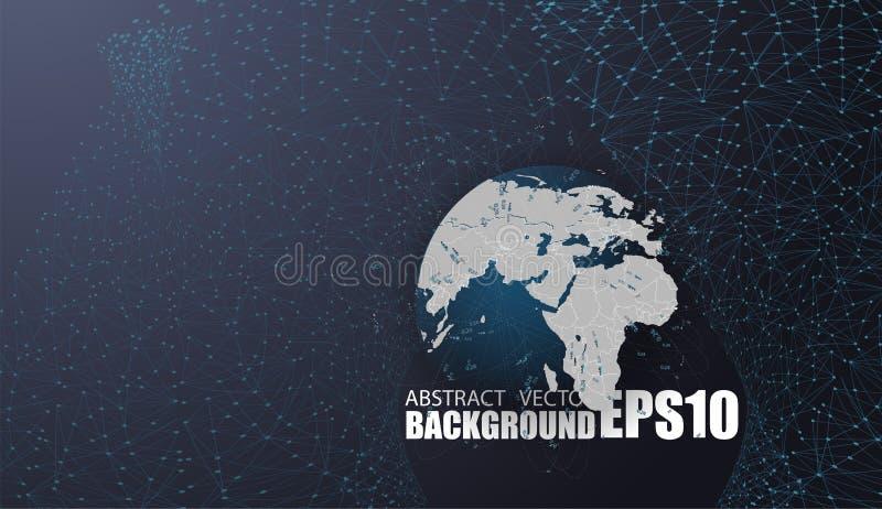 Globale netwerkverbindingen met punten en lijnen Digitale geometrische abstracte achtergrond royalty-vrije illustratie