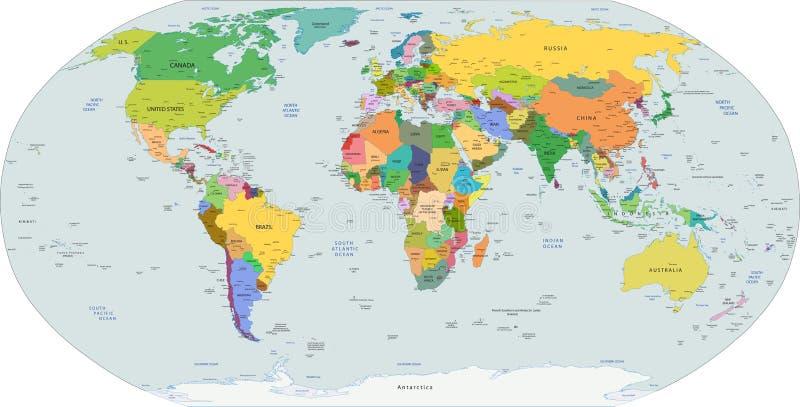 Globale politische Karte der Welt, Vektor lizenzfreie abbildung