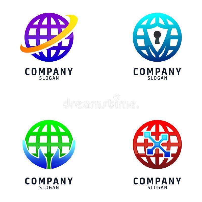 Globale Reeks van Logo Design Technology stock illustratie