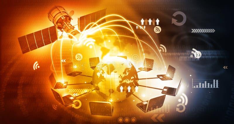 Globale satelliettelecommunicatie royalty-vrije stock afbeelding