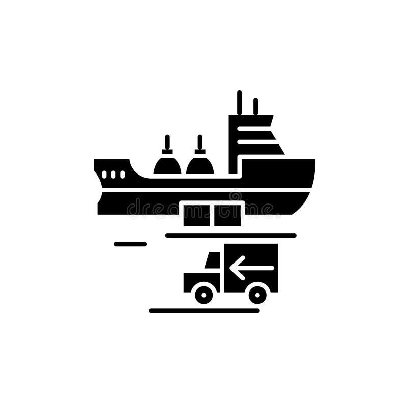 Globale schwarze Versandikone, Vektorzeichen auf lokalisiertem Hintergrund Globales Versandkonzeptsymbol, Illustration vektor abbildung