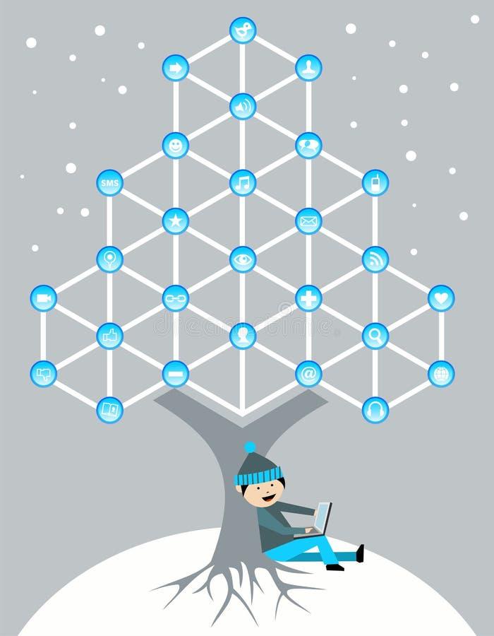 Globale sociale media netwerkboom vector illustratie