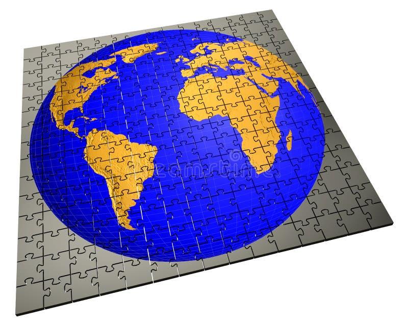 Globale strategiepuzzel vector illustratie