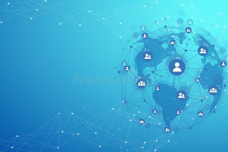 Globale Strukturvernetzung und Datenverbindungskonzept Kommunikation des Sozialen Netzes in den globalen Computernetzwerken lizenzfreie abbildung