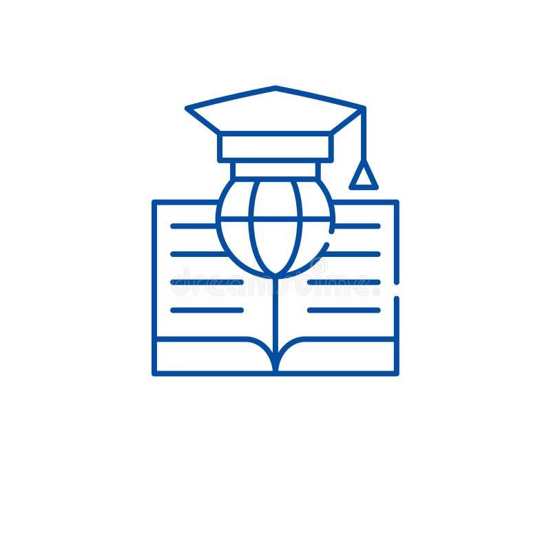 Globale Studienlinie Ikonenkonzept Flaches Vektorsymbol der globalen Studie, Zeichen, Entwurfsillustration lizenzfreie abbildung