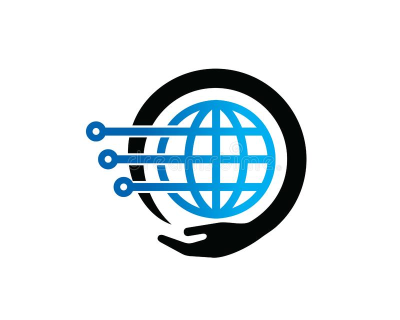 Globale Technologie Logo Template Design Vector, Emblem, Konzept des Entwurfes, kreatives Symbol, Ikone vektor abbildung