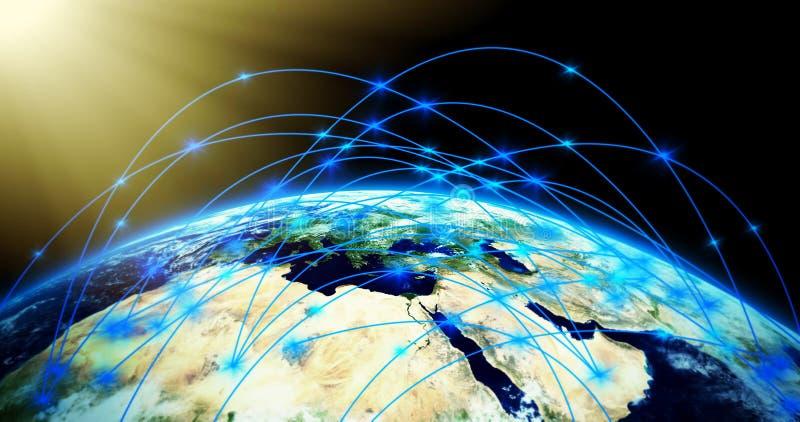 Globale verbindingen - aardetextuur door NASA.gov royalty-vrije illustratie