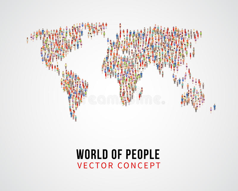 Globale Verbindung der Leute, Erdbevölkerung auf Weltkartevektorkonzept vektor abbildung