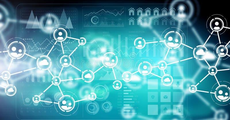 Globale Verbindung und Vernetzung Gemischte Medien lizenzfreie stockfotografie