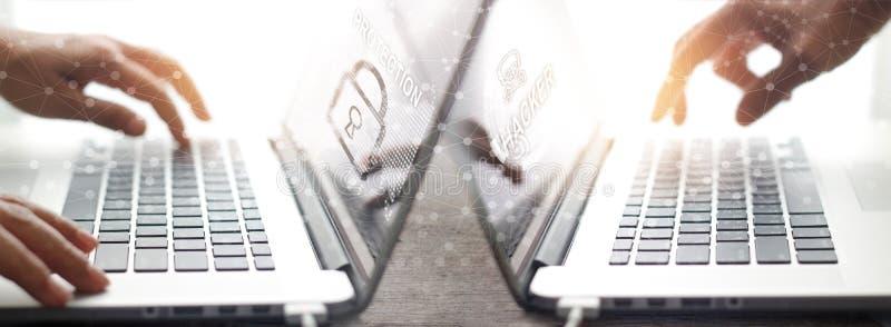 Globale Vernetzungssicherheit Geschäftsmannarbeitsschutzdaten stockbild