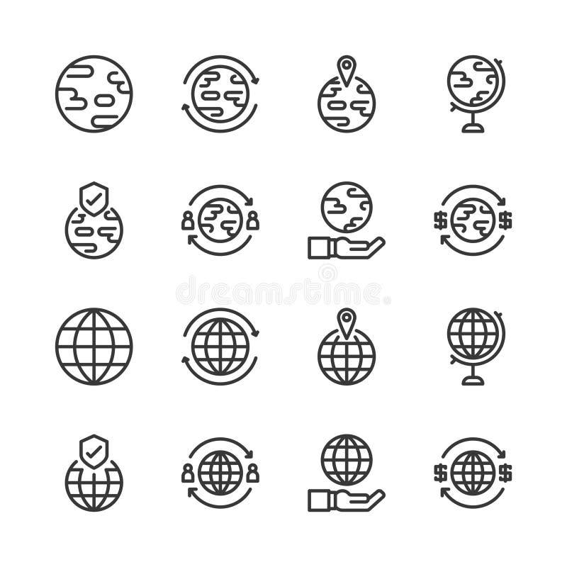 Globale verwante pictogramreeks Vector illustratie royalty-vrije illustratie