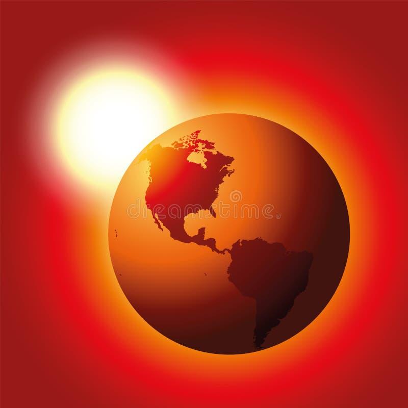 Globale Verwarmende Rode Aarde vector illustratie