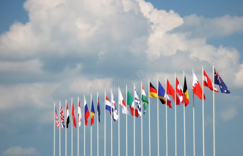 Globale vlaggen royalty-vrije stock fotografie