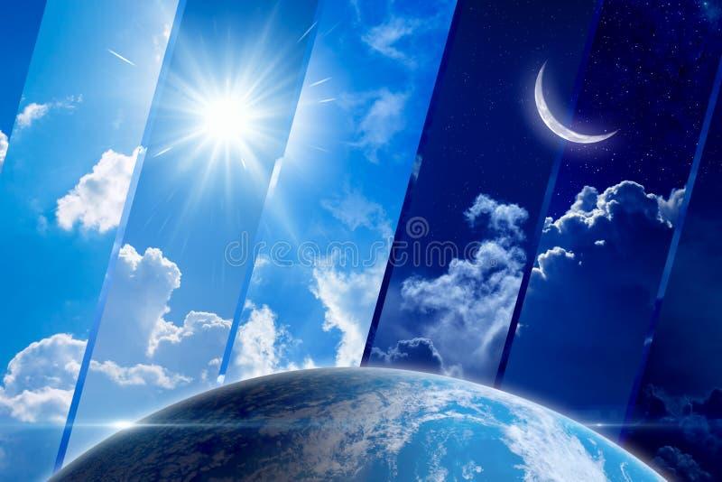 Globale weervoorspellingsachtergrond, dag en nacht, zon en maan stock foto