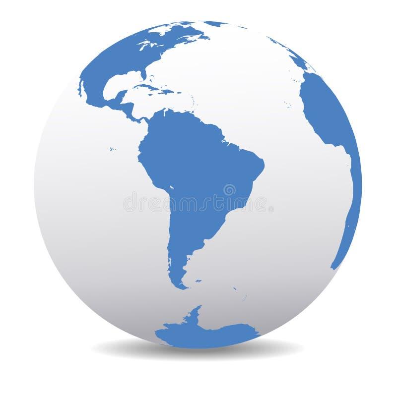 Globale Welt Südamerikas, Planeten-Erde mit Afrika lizenzfreie abbildung